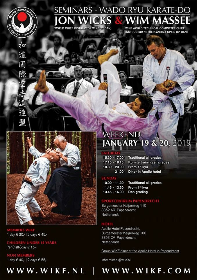 Stage sensei Wicks en sensei Massee in januari 2019